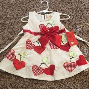 """The Silly Sissy""  Heart/Cherry Dress 12/18 months"